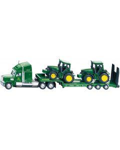 Ciężarówka z dwoma ciągnikami John Deere