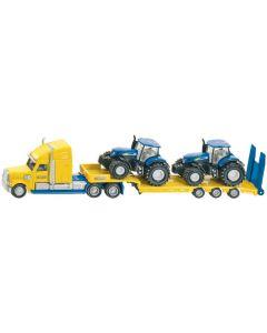 Ciężarówka z dwoma ciągnikami New Holland na naczepie Siku 1:87