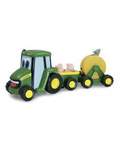 Tomy John Deere grający Traktor z przyczepą do przewozu zwierząt