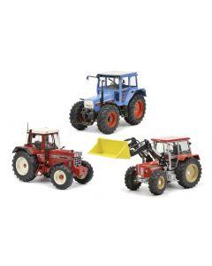 Zestaw legendarnych ciągników IHC 1255 XL, Eicher 3125 i Schlüter Compact 1250 TV6