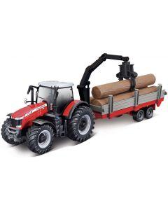 Traktor  Massey Ferguson 8740 S z przyczepą do pni i żurawiem firmy Bburago BU31659