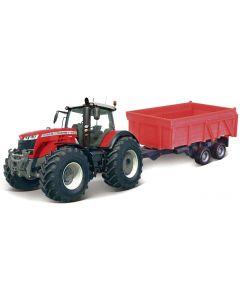 Traktor Massey Ferguson 8740 S z przyczepą dwuosiową Bburago BU31662