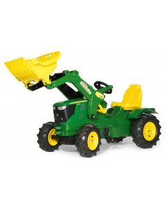 Traktor na pedały John Deere 6210R z ładowaczem i ogumieniem rollyFarmtrac R61110 Rolly Toys