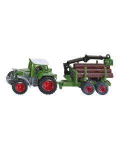 Traktor Fendt z przyczepą do drewna