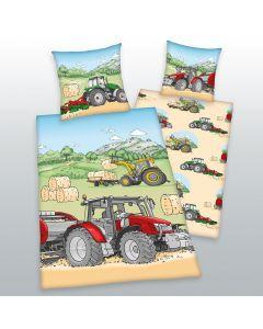 Pościel w ciągniki 100% bawełna naturalna flanela Biber. Wymiary 135 x 200 cm + 80 x 80 cm