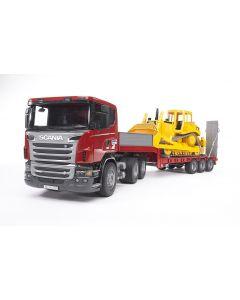 Scania R z naczepą i buldożerem CAT